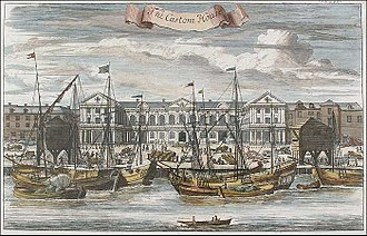 HM Customs - Vessels moored at London's Custom House in 1755