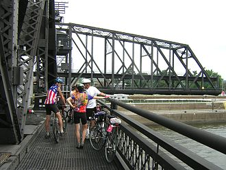 Government Bridge - Sidewalk view during a swing-span opening