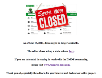 DMOZ - Screenshot taken in April 2017 showing DMOZ website to be closed.