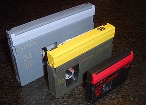 DV cassettes Left to right: DVCAM-L, DVCPRO-M,...