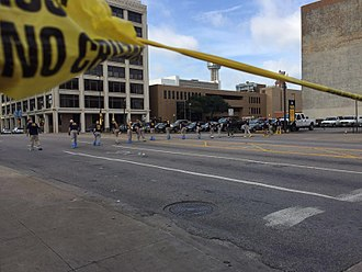 2016 shooting of Dallas police officers - Law enforcement personnel investigating the crime scene.