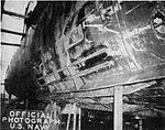 Damaged starboard side of USS Hugh W. Hadley (DD-774) in May 1945.jpg