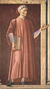 Dante in einer Freskenserie von Andrea del Castagno, ca.1450 (Uffizien) (Quelle: Wikimedia)