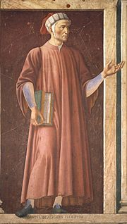 Mural of Dante in the Uffizi Gallery, by Andrea del Castagno, c. 1450.