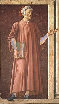 Fresque sur bois de la galerie des Offices é Florence représentant Dante, peint par Andrea del Castagno en 1450.