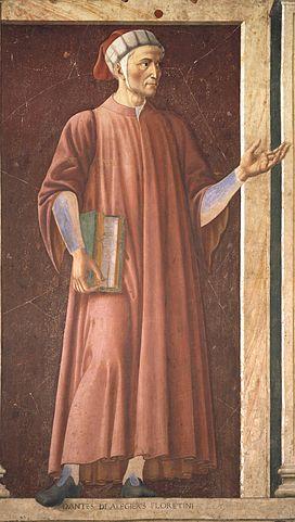 Данте на фреске виллы Кардуччо Андреа дель Кастаньо (1450, Галерея Уффици)