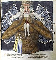Luzifer quält die drei Verräter Judas, Brutus und Cassius. Dante, Commedia, 14.Jahrhundert, Italien (Codex Altonensis, ex Bibliotheca Gymnasii Altonani, Hamburg) (Quelle: Wikimedia)