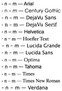 These Comparisons Of The Hyphen En Dash And Em Dash In Various 12 Point Fonts Il Rate The Typical Relationship Between Lengths N M