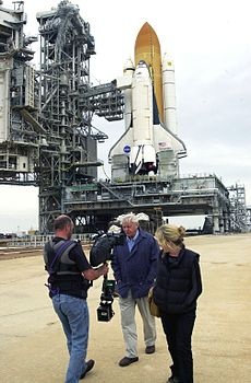 Attenborough filming commentary for a documentary at Kennedy Space Center