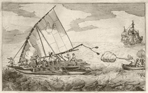 The Dutch ship De Eendracht attacks a catamaran in the Southern Pacific.