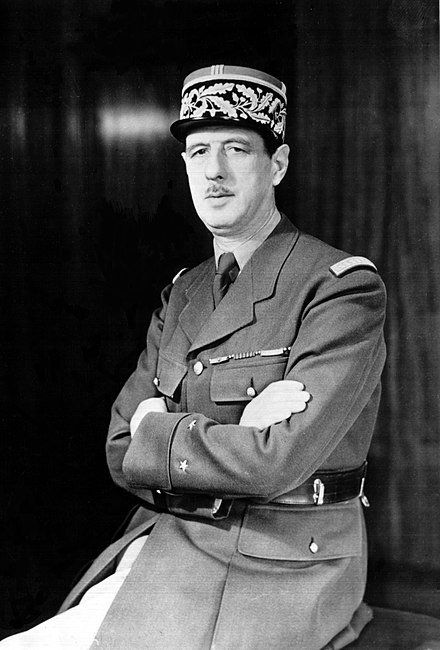 French President Charles de Gaulle vetoed British membership, held back the development of Parliament's powers and was at the centre of the 'empty chair crisis' of 1965 De Gaulle-OWI.jpg
