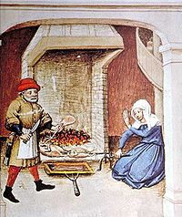 Fowl roasting on a spit. Under the spit is a narrow, shallow basin to collect the drippings for use in sauces or for basting the meat; illustration from The Decameron, Flanders, 1432.