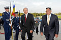 Defense.gov News Photo 110913-D-WQ296-097 - Secretary of Defense Leon E. Panetta right escorts Romanian President Traian Basecu left as he arrives at the Pentagon on Sept. 13 2011. The two men.jpg