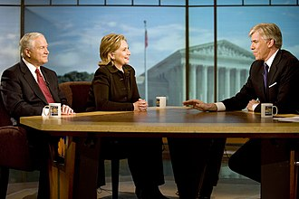 David Gregory (journalist) - Gregory interviews Secretary of State Hillary Clinton and Defense Secretary Robert Gates in 2009