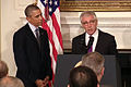Defense Secretary Chuck Hagel discusses his resignation during a news conference with President Barack Obama at the White House in Washington, D.C 14-24-11-D-XXXB-001.jpg