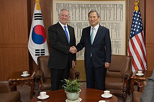 2017 in North Korea -  U.S. Defense Secretary Jim Mattis meets with ROK National Security Advisor Kim Kwan-jin during a visit to Seoul, South Korea, Feb. 02, 2017.