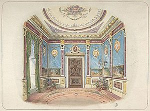 John Dibblee Crace - Design for a room by John Dibblee Crace. Watercolour, pen and brown ink over graphite. Metropolitan Museum of Art