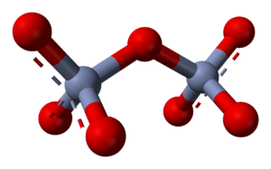 Oxyanion - The dichromate ion; two tetrahedra share one corner