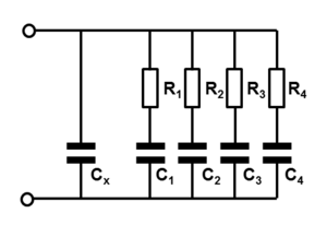 Dielectric absorption -  Circuit model for explaining a time-delayed voltage build-up by parallel RC-timers