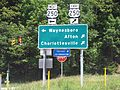 Directional signage for Interstate 64, Exit 99 in Virginia, US 250 at Rockfish Gap.jpg