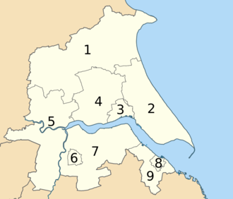 Humberside - Image: Districts of Humberside (1974 1996) numbered