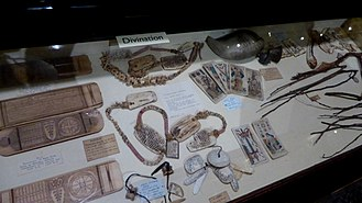 Divination - Display on divination, featuring a cross-cultural range of items, in the Pitt Rivers Museum in Oxford, England.