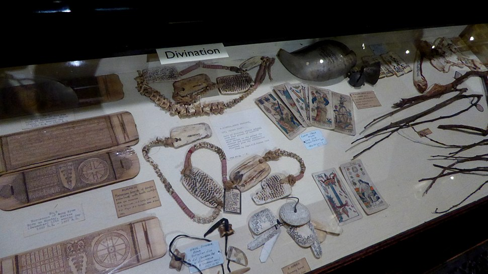 Divination display at the Pitt Rivers Museum