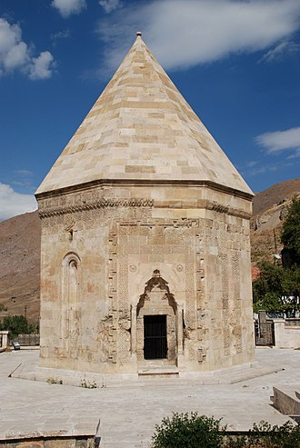 Türbe - Earlier and more eastern examples have straight-sided roofs rather than domes, a Persian style. Divriği, Sivas Province in central eastern Turkey. ?13th century