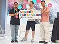 Dixon Wu, Jo Peng and Roxman Yang holding SGS logo board 20190714b.jpg