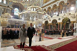 Kronstadt Naval Cathedral - Dmitry Medvedev and his wife at the festivities in the Naval cathedral.