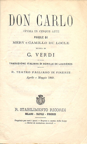 Don Carlos - Title page of a libretto for performances at the Teatro Pagliano in Florence in April–May 1869 which used the Italian translation by Achille de Lauzières