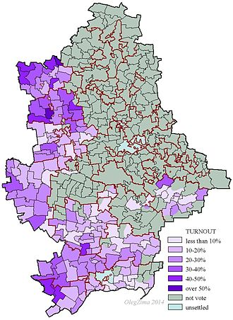 Ukrainian presidential election, 2014 - Voter turnout in Donetsk Oblast in the election