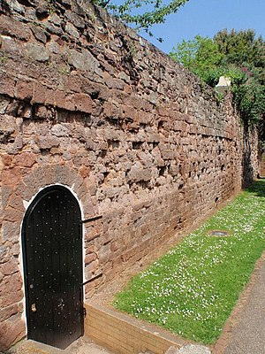 Exeter - A portion of Exeter's city wall, formed of both Roman and medieval stones.