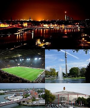 Clockwise from top: Skyline of Dortmund, TV Tower in Westfalenpark, Westfalenhallen, Dortmund Port, Signal Iduna Park