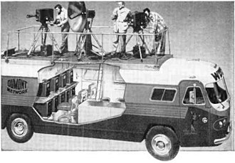 Outside broadcasting - Dumont Telecruiser, one of the earliest television production trucks which allowed remote TV broadcasts, built in 1949 by the Dumont Television Network.  The microwave dish antenna on the roof beamed the live feed back to a dish at the studio.