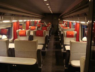 Enterprise (train service) - The interior of a First Plus carriage, built to a similar design and specification as Eurostar's rolling stock