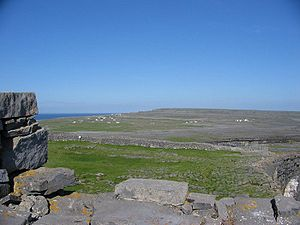 County Galway - A view over the karst landscape on Inishmore, from Dún Aengus, an ancient stone fort.