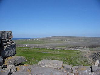 Aran Islands - A view over the karst landscape on Inishmore, from Dún Aonghasa, an ancient stone fort.