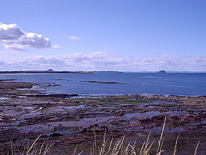 Dunbar - View towards Belhaven Bay (John Muir Country Park) with North Berwick Law and Bass Rock in the distance.