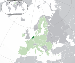 Location of the  Netherlands  (dark green)– on the European continent  (light green & dark grey)– in the European Union  (light green)  —  [Legend]