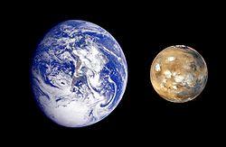 Tamaño de Marte comparado con la Tierra.