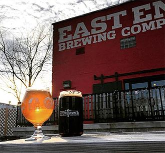 East End Brewing Company - Outdoor patio with beer at East End Brewing