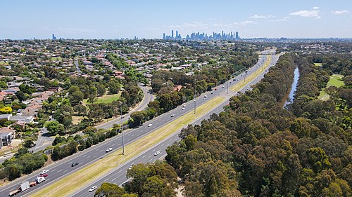 Eastern Freeway and Melbourne skyline from Willsmere Park, Kew East.jpg