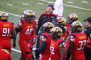 Randy Edsall - Randy Edsall along the sideline during the Terps' 2013 game vs. the Clemson Tigers.