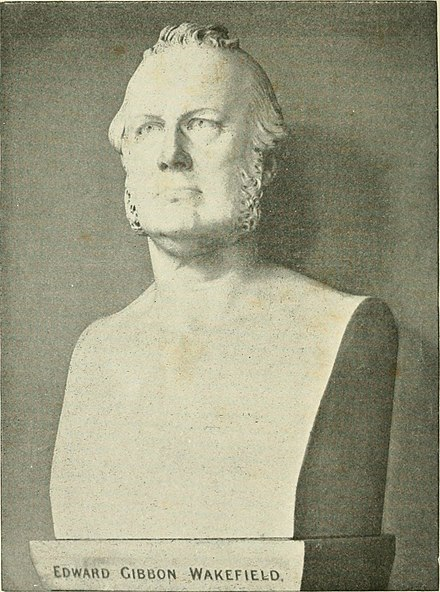 A bust of Wakefield from the 1897 book New Zealand rulers and statesmen from 1840 to 1897 Edward Gibbon Wakefield bust.jpg