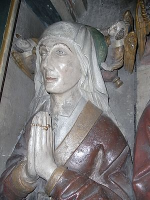 William II Canynges - Effigy of Joan Burton (d.1467), wife of William II Canynges. Next to effigy of her husband under ornate stone canopy, St Mary Redcliffe, Bristol