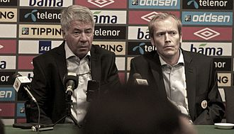 Egil Olsen - Olsen speaking to the press following a 2012 friendly match between Norway and England