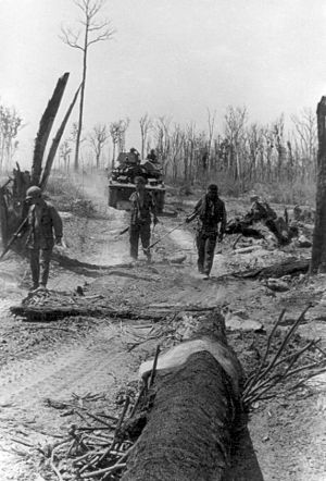 11th Armored Cavalry Regiment - Engineers supported by a M551 Sheridan Tank from the Blackhorse Regiment clear mines in Cambodia.