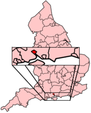 Chilworth, Hampshire - Map showing Southampton within England