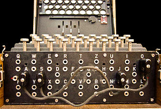 Cryptanalysis of the Enigma - The plugboard (Steckerbrett) was positioned at the front of the machine, below the keys. In the above photograph, two pairs of letters have been swapped (A↔J and S↔O). During World War II, ten leads were used, leaving only six letters 'unsteckered'.